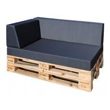Luxus Outdoor Palettenkissen Set linke Ecke 3-teilig Sitzpolster 120x80x15 + Rückenkissen 120x40 x15/25cm